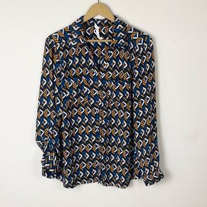 NY Collections Retro Patterned Blouse Size Large